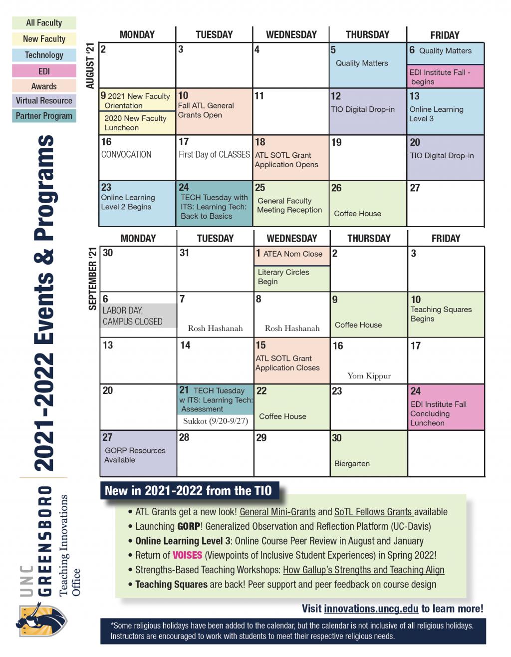 Uncg Calendar Spring 2022.Teaching Innovations University Teaching Learning Commons